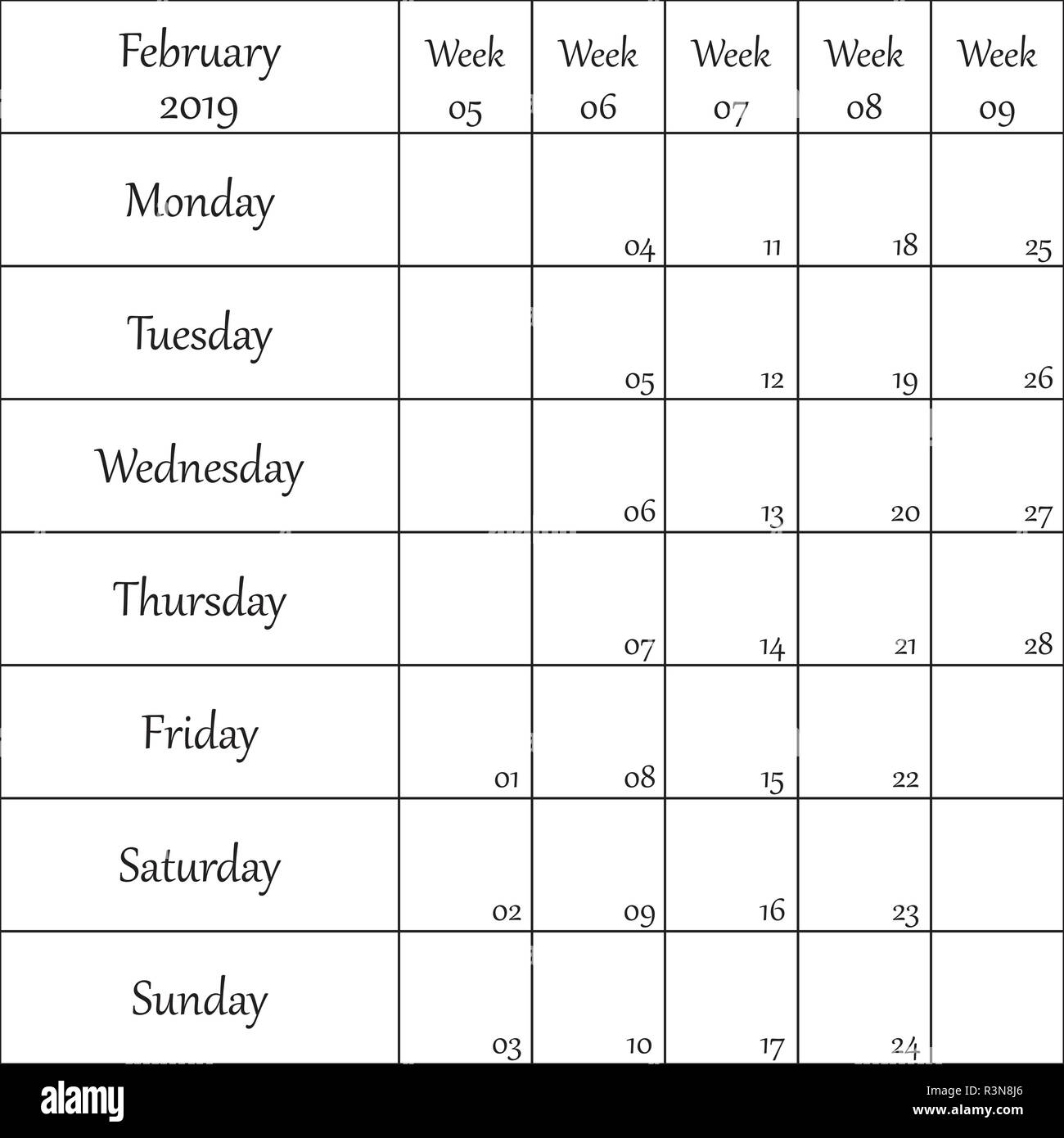 February 2019 Planner with number for each Weak - Stock Vector