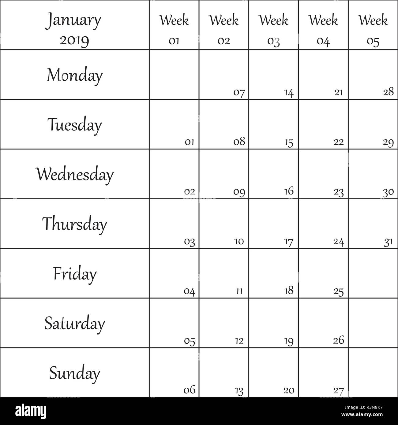 January 2019 Planner with number for each Weak - Stock Vector