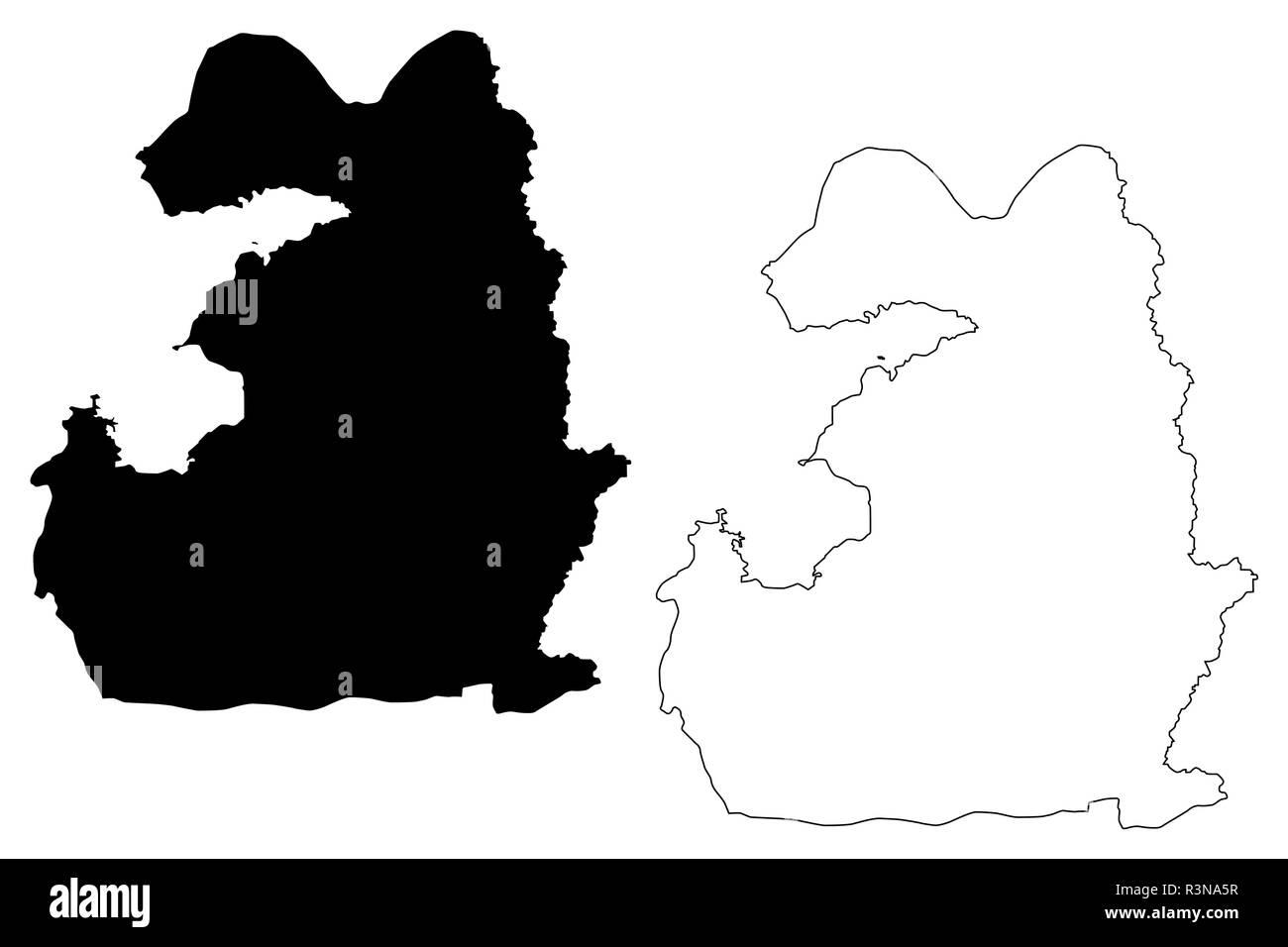 Van (Provinces of the Republic of Turkey) map vector illustration, scribble sketch Van ili map - Stock Image