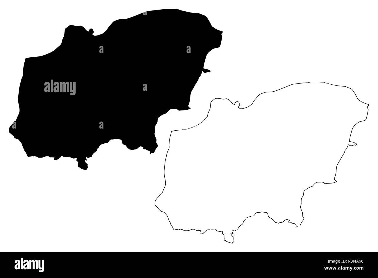 Usak (Provinces of the Republic of Turkey) map vector illustration, scribble sketch Uşak ili map - Stock Image