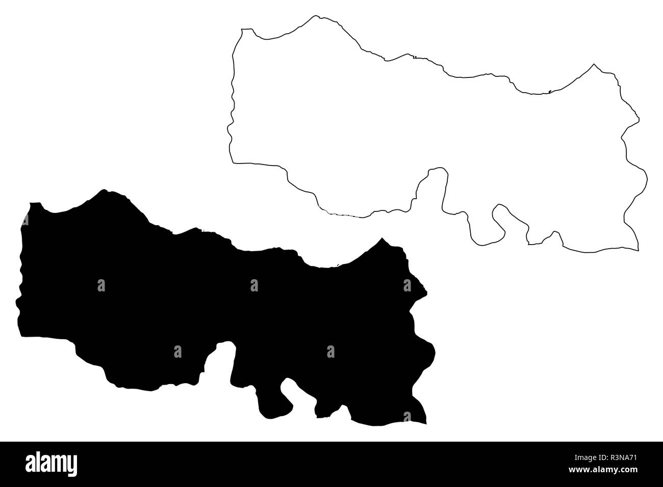 Trabzon (Provinces of the Republic of Turkey) map vector illustration, scribble sketch Trabzon ili map - Stock Image
