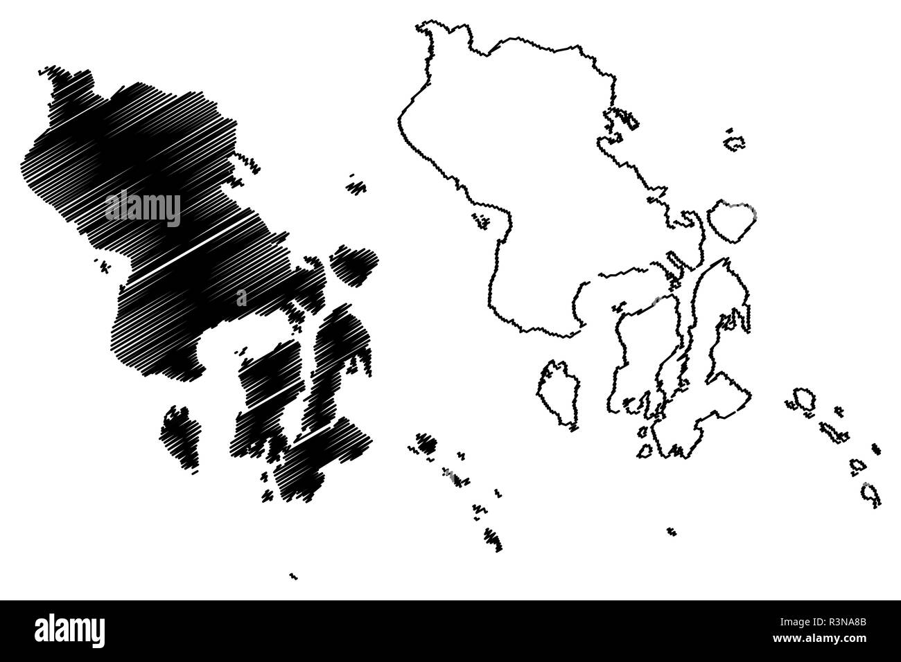 Southeast Sulawesi (Subdivisions of Indonesia, Provinces of Indonesia) map vector illustration, scribble sketch Southeast Sulawesi map Stock Vector