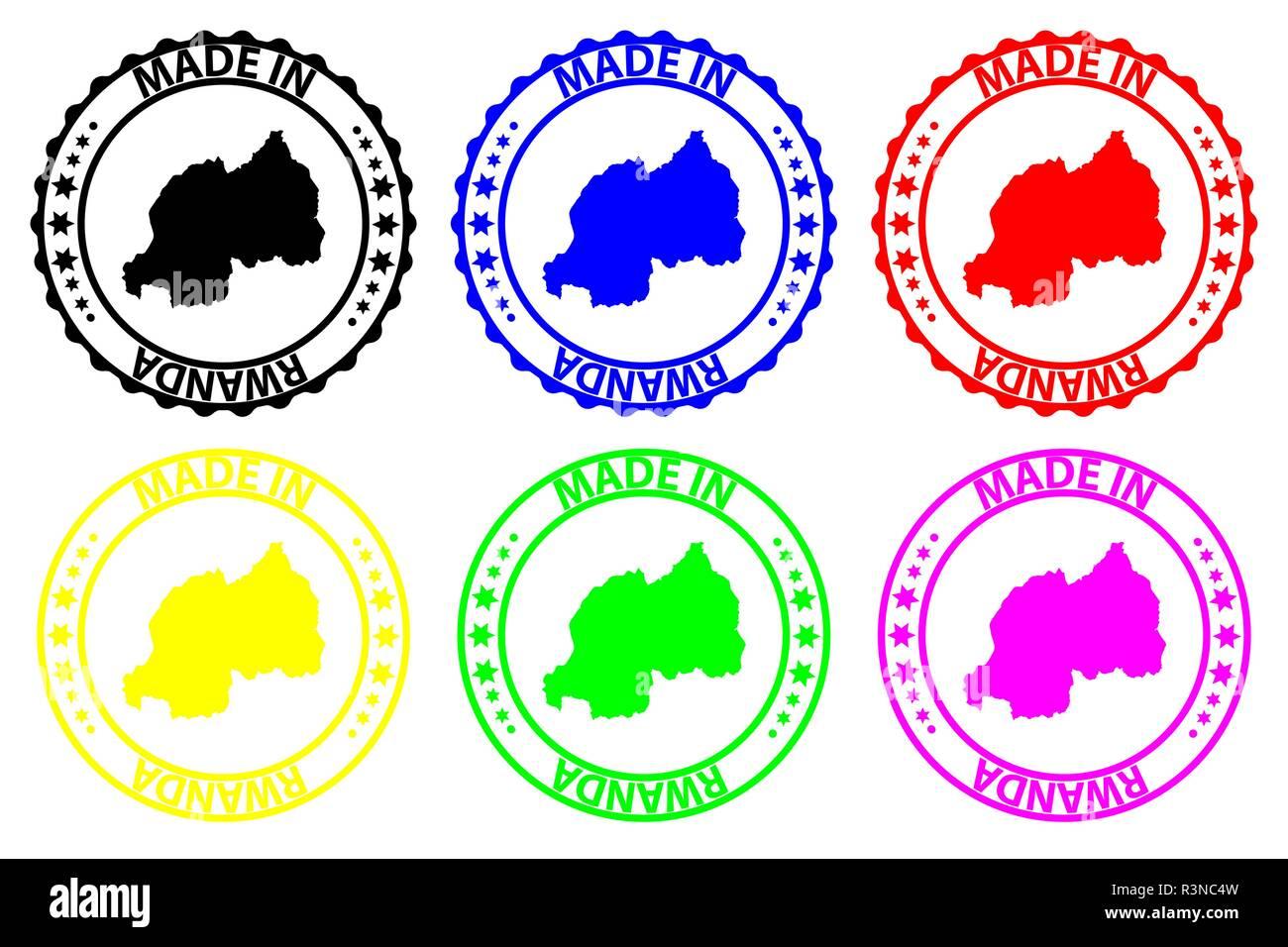 Made in Rwanda - rubber stamp - vector, Rwanda map pattern - black, blue, green, yellow, purple and red - Stock Vector