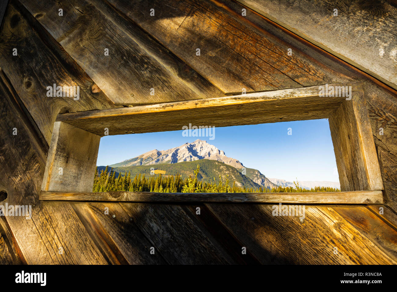 Wildlife viewing blind at Cave and Basin National Historic Site, Banff National Park, Alberta, Canada - Stock Image