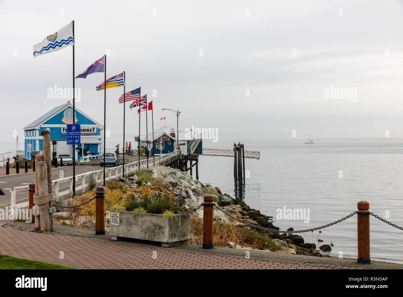 Seafood restaurant at the end of the pier in Sidney, British Columbia, Canada Stock Photo