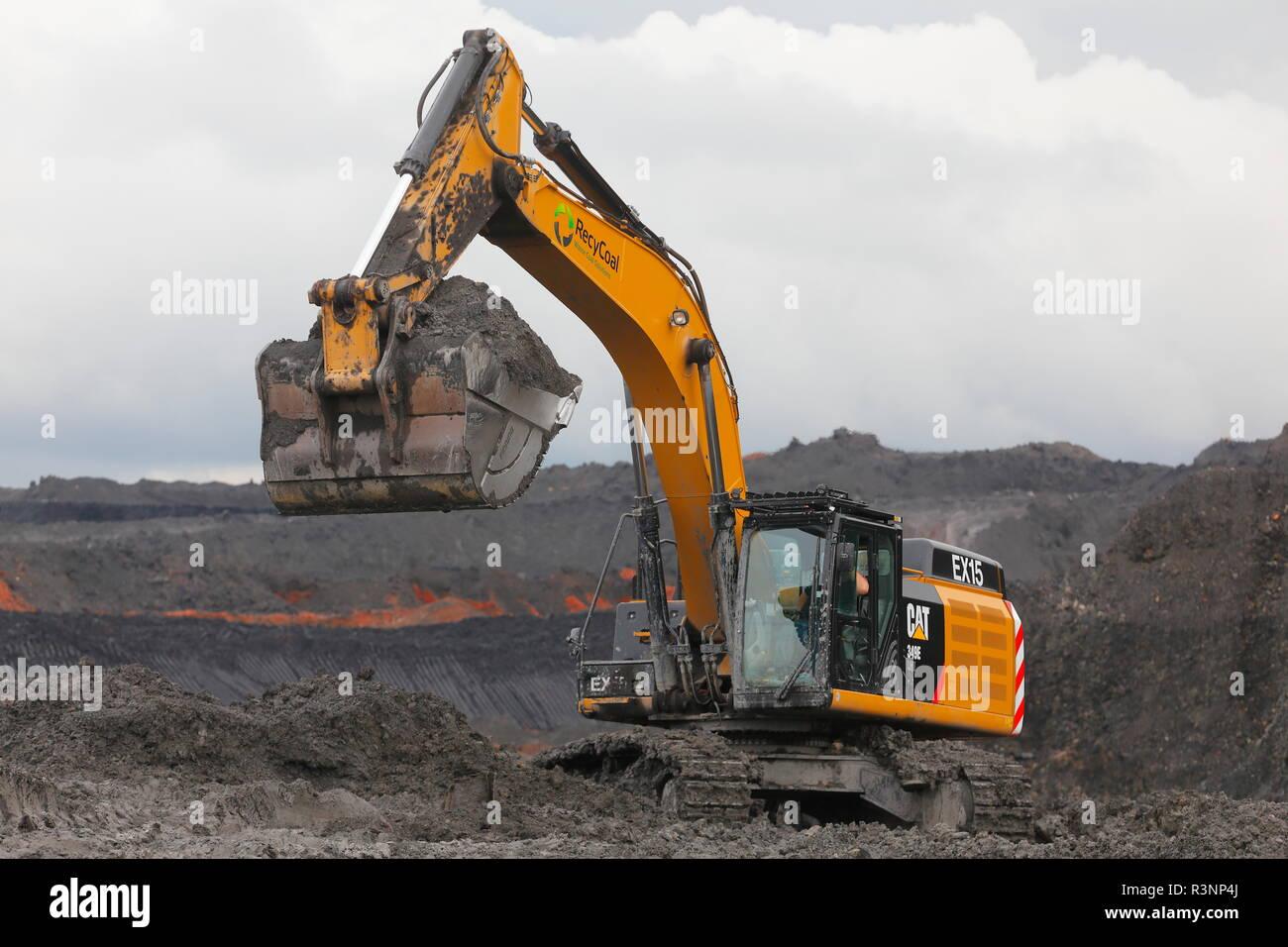 A Caterpillar 349E used for loading dump trucks on the