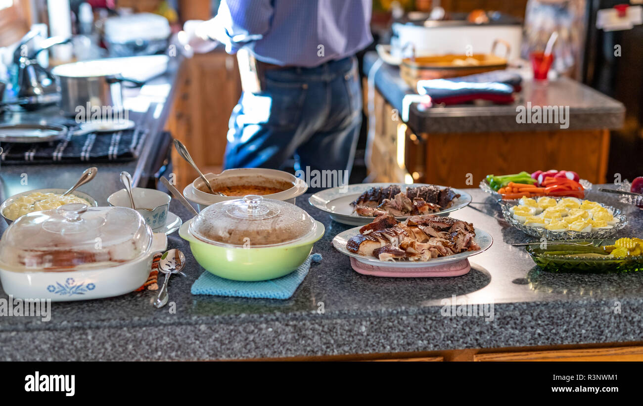 The serve yourself Thanksgiving dinner is now ready - Stock Image