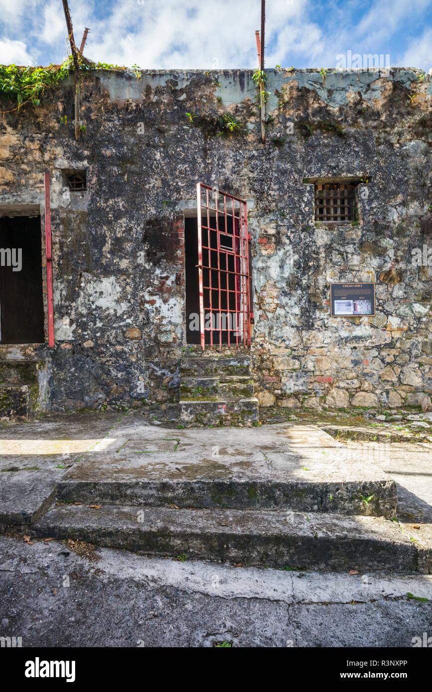 British Virgin Islands, Tortola. Road Town. HM Prison Museum cellblock - Stock Image