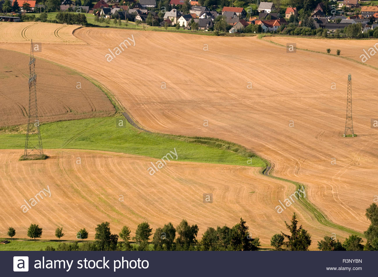 Feld mit Strommasten und einem Feldweg vor Häusern - Stock Image