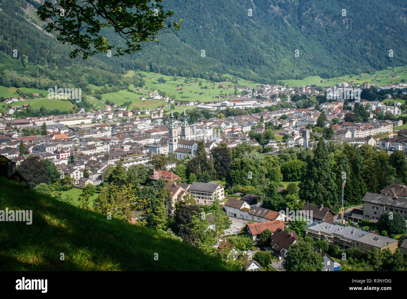 Town of Glarus from above, Switzerland - Stock Image