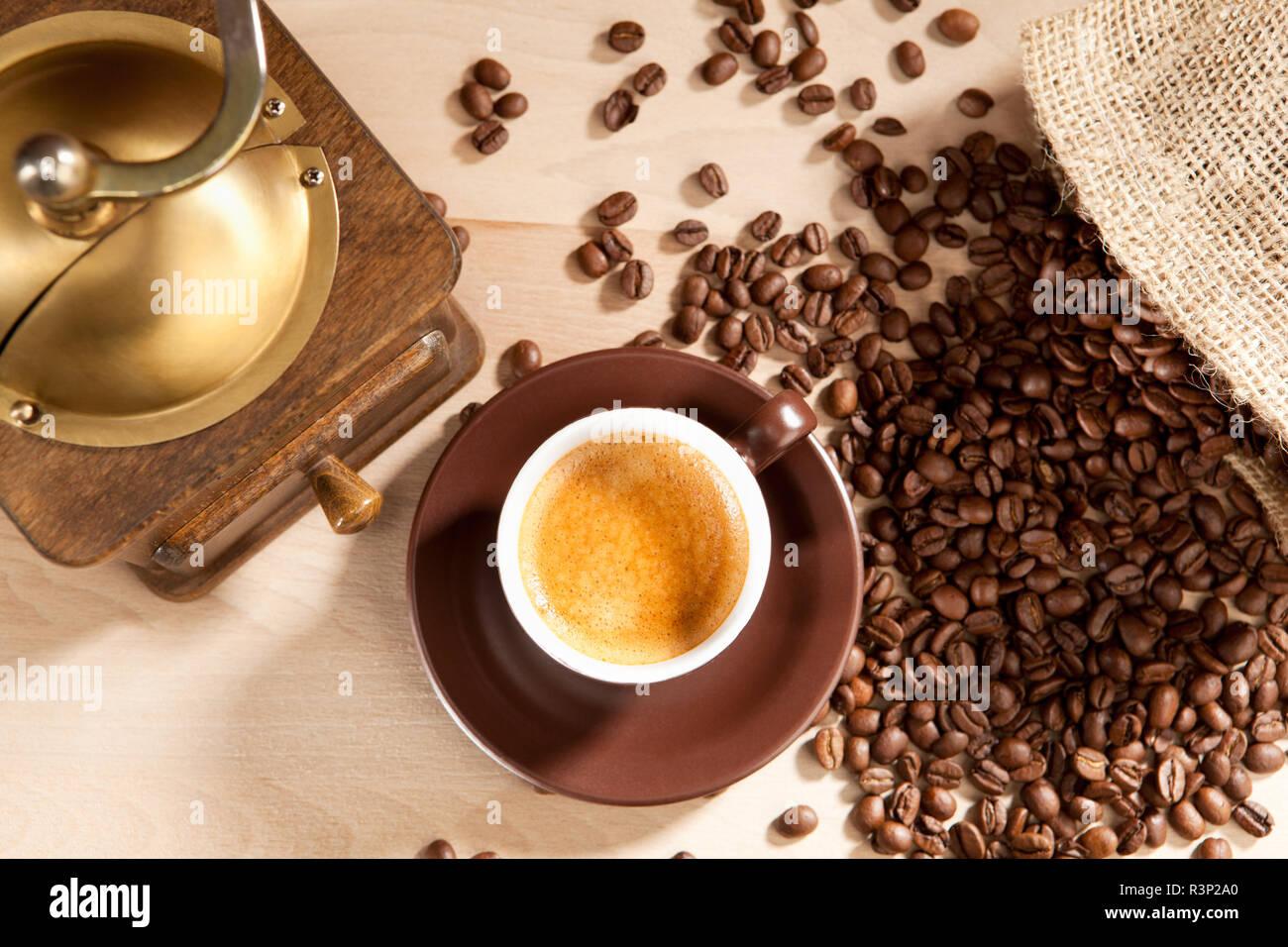 pleasure of freshly ground coffee beans - Stock Image