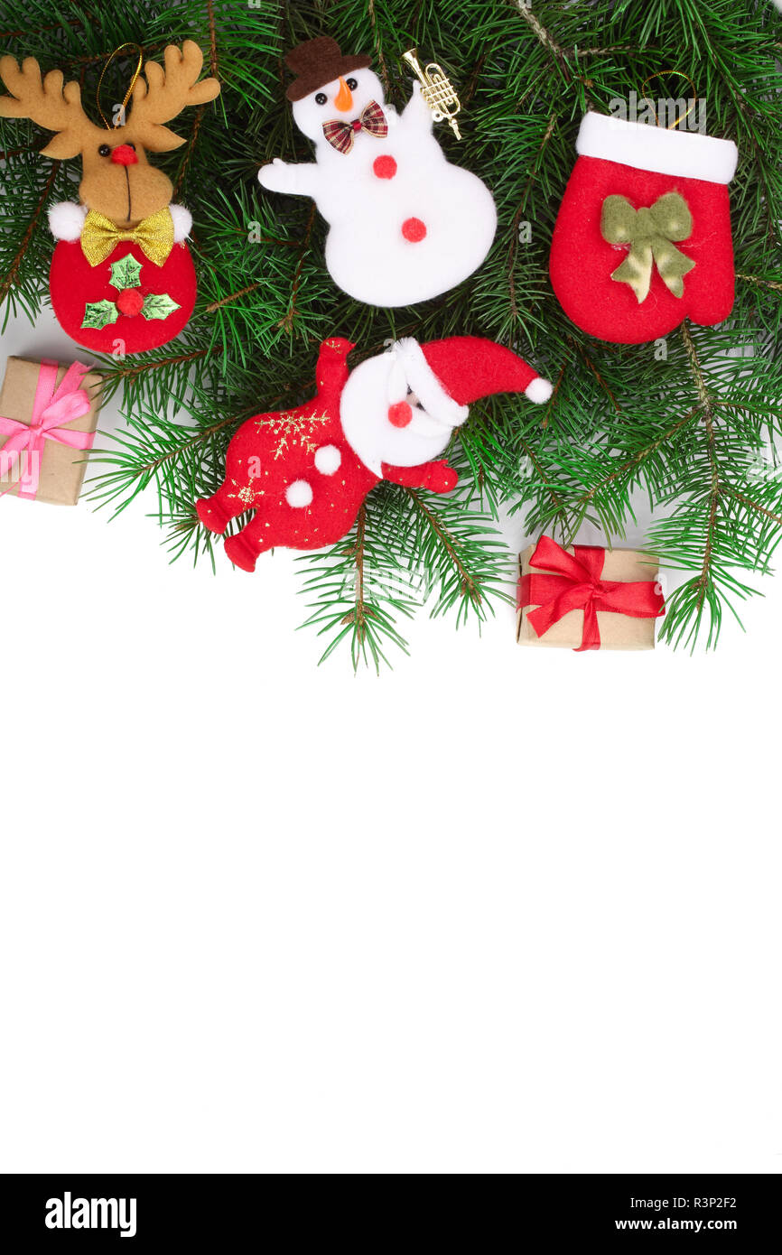 Christmas background with decorations isolated on white with copy space for your text. Top view - Stock Image