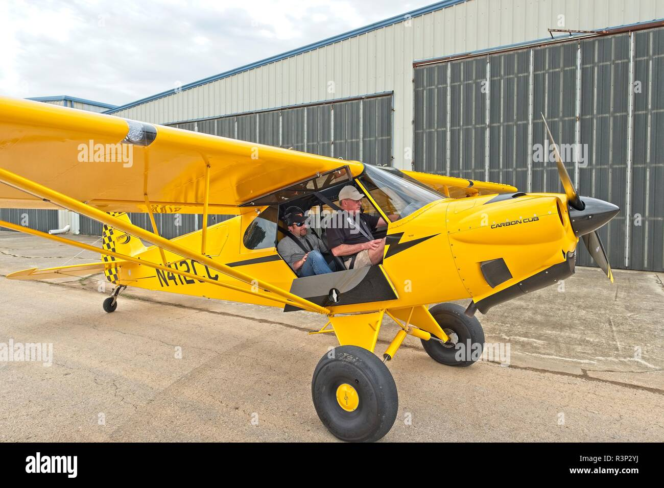 Carbon Cub SS bush plane or light sport aircraft (LSA) an experimental two seat private airplane at the Bessemer Airport, Bessemer Alabama, USA. - Stock Image