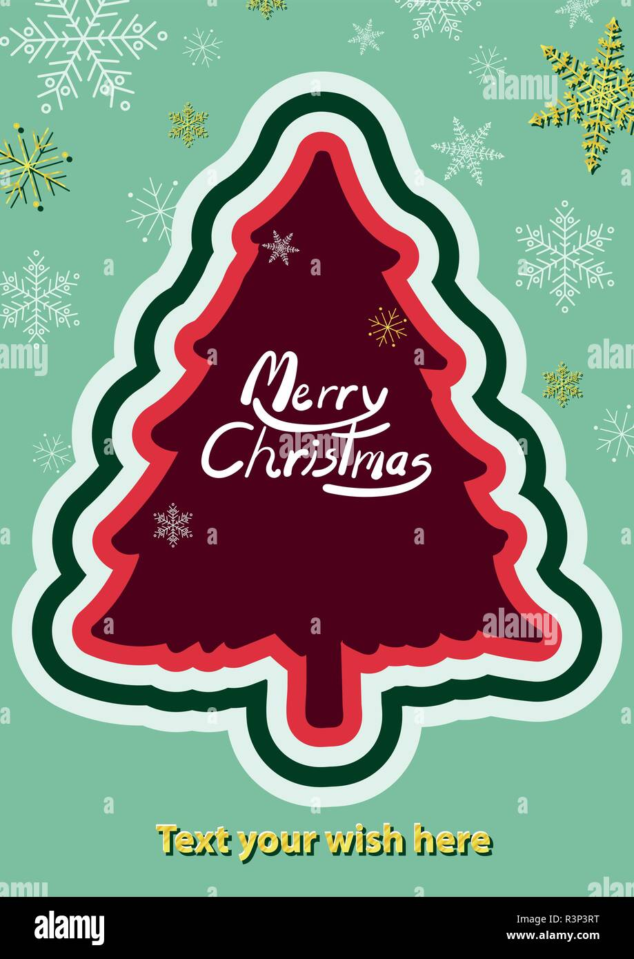 poster design for christmas new year in simple style with space for text background template for advertisement or cover red christmas tree at the