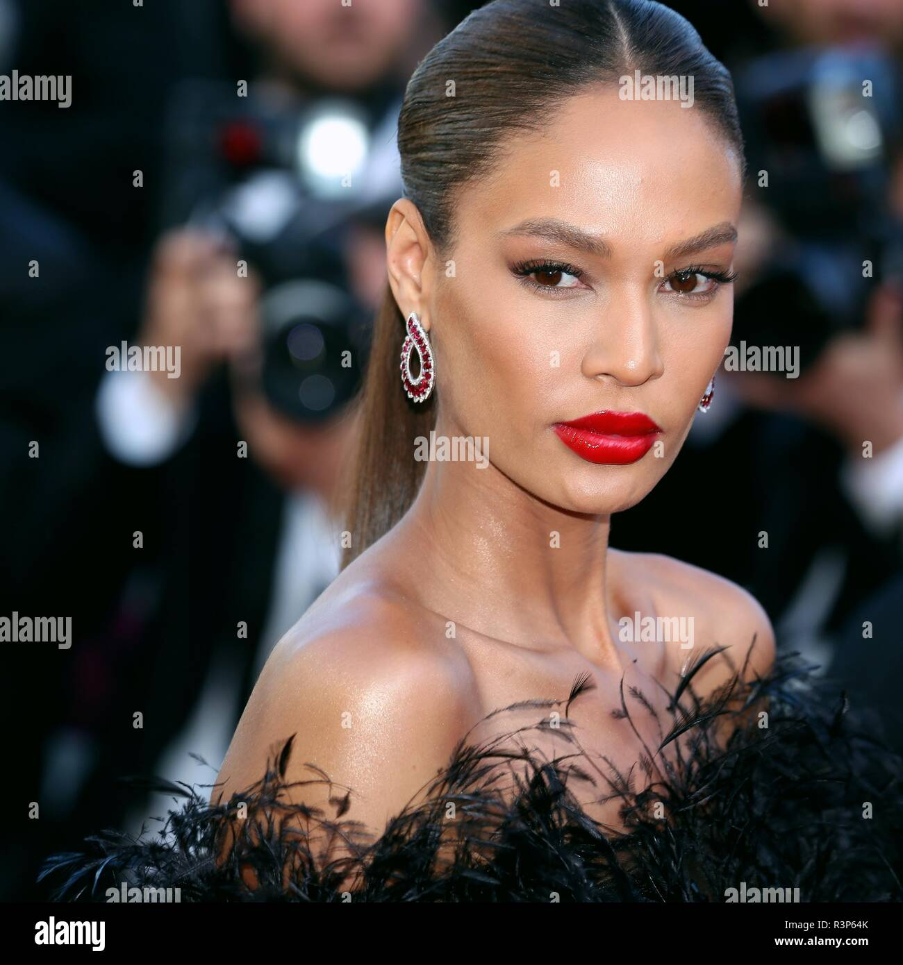 CANNES, FRANCE – MAY 12, 2018: Joan Smalls walks the red carpet for the 'Girls of the Sun' screening at the Festival de Cannes (Ph: Mickael Chavet) - Stock Image