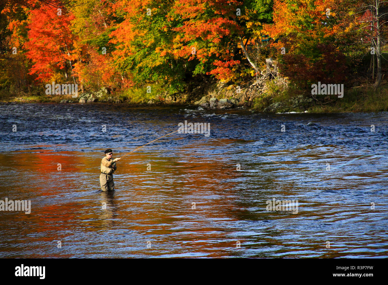 Canada, Nova Scotia, Cape Breton, Angling for salmon on the Margaree river Stock Photo