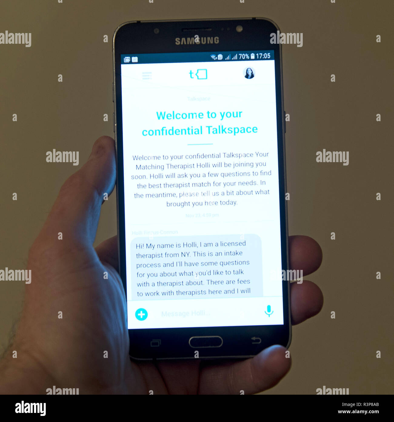 Talkspace app is pictured on an Android smartphone app in Warwick, UK. Nov 23, 2018. - Stock Image