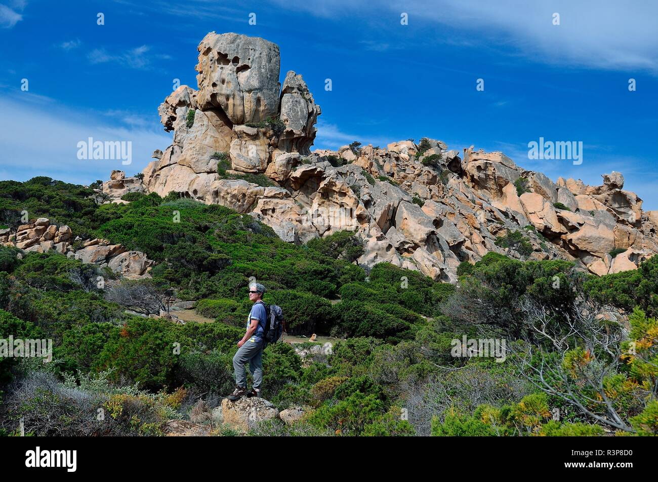 Taffonis in pink granites along the coastal path between Campomoro and Senetosa, Propriano Region, Corsica, France - Stock Image