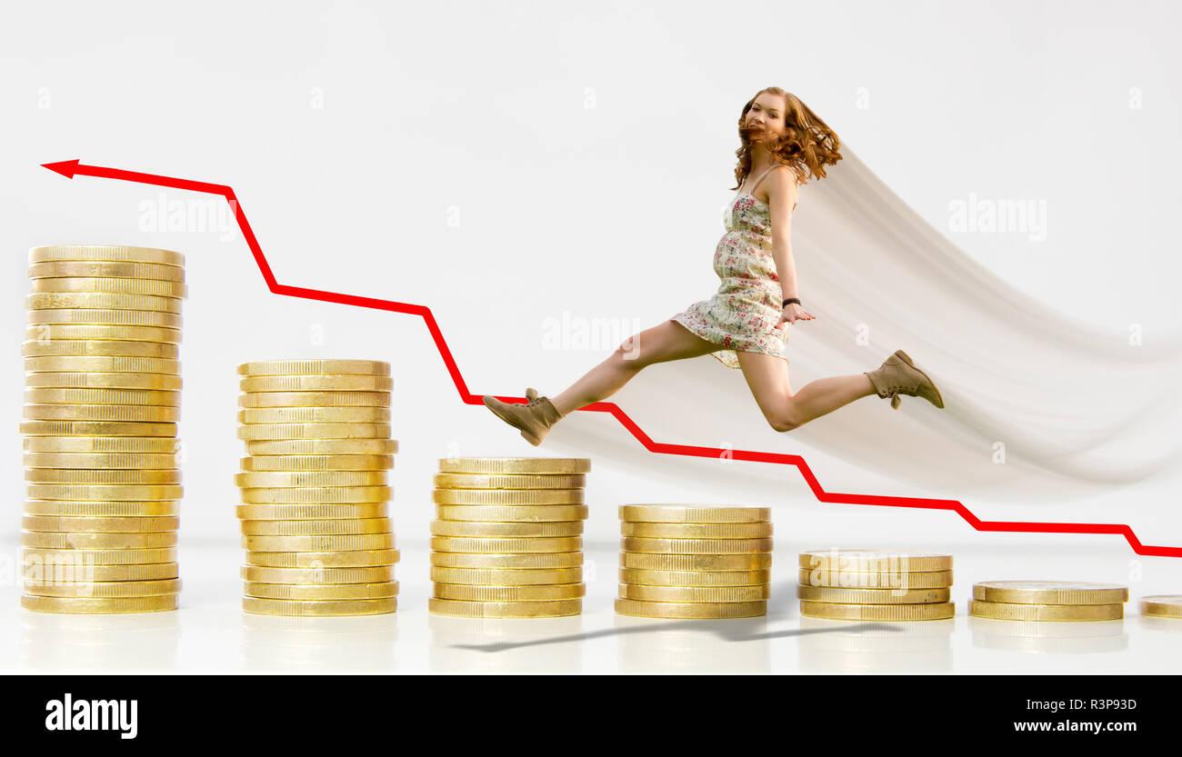 money,success,fortune,interest finance,woman,win,altersvorsorge Stock Photo