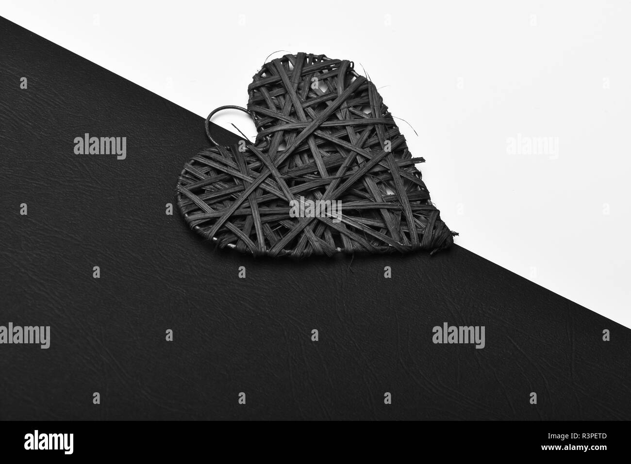 Valentines Day And Love Concept Woven Heart Ornament In Red Colour Handmade Decoration On Black And White Background Stock Photo Alamy