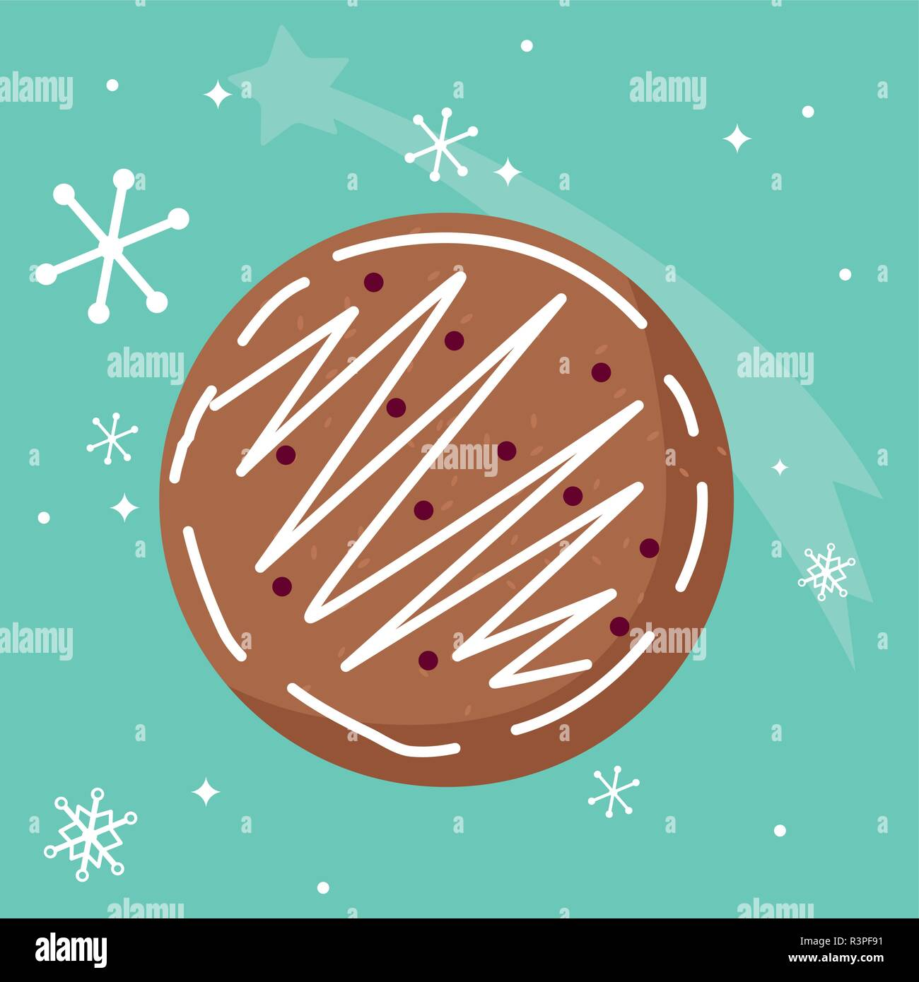 christmas cookie icon over blue background, vector illustration - Stock Vector
