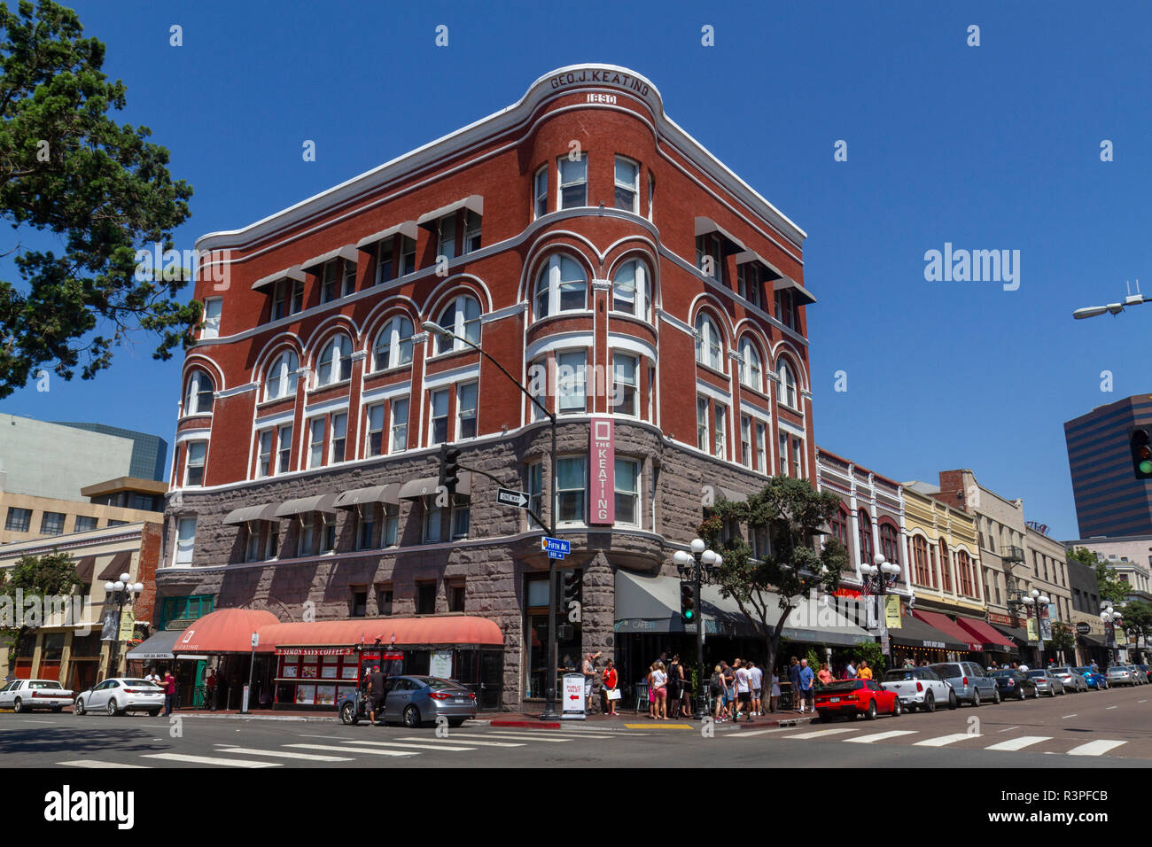 The George J. Keating Building, in the Romanesque Revival style, Gaslamp Quarter, San Diego, California, United States, - Stock Image