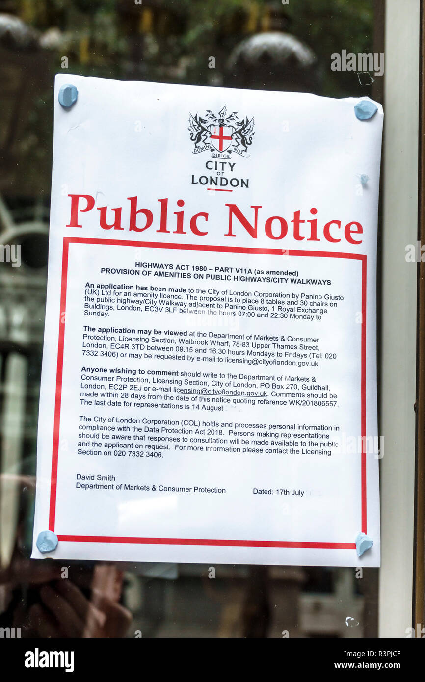 London England Great Britain United Kingdom City of London Cornhill financial centre center public notice posted License Application Department of Mar - Stock Image