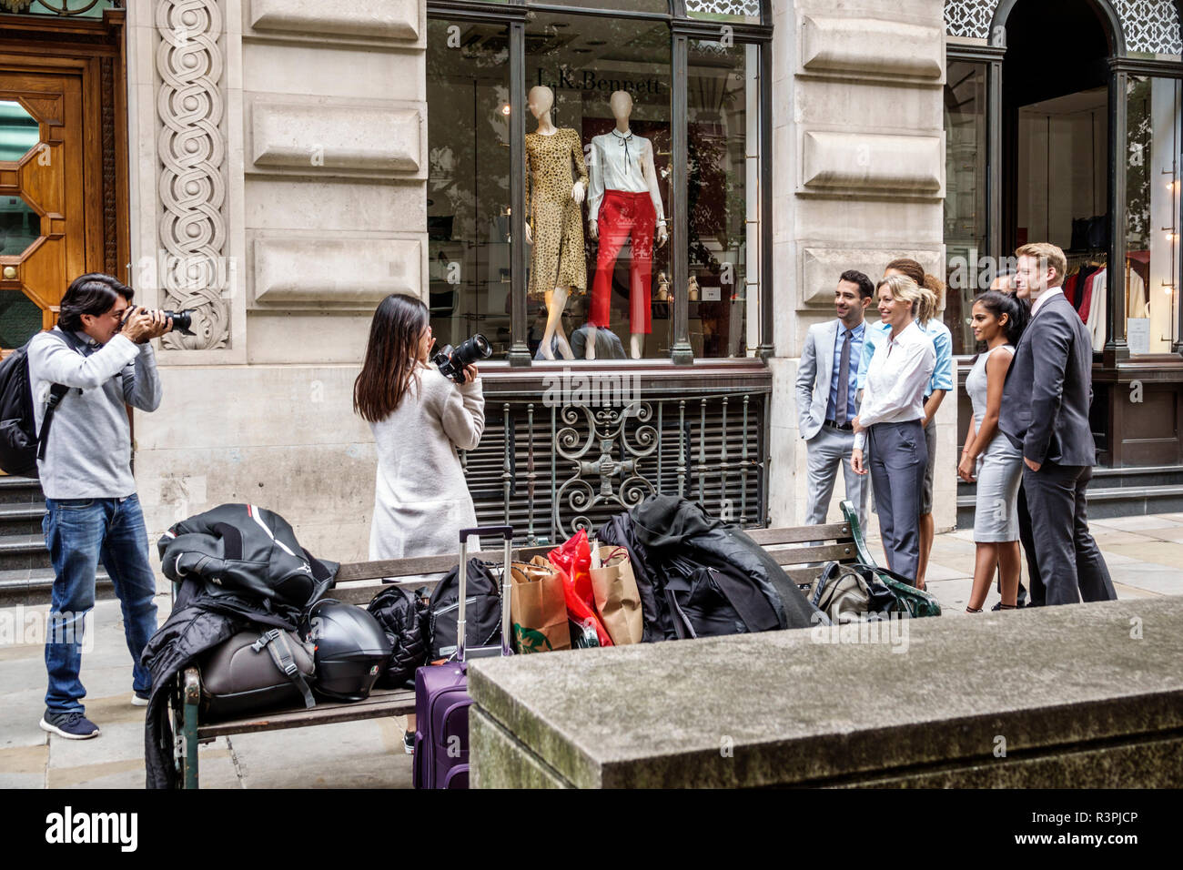 London England Great Britain United Kingdom City of London financial centre center Royal Exchange L.K. Bennett womenswear boutique clothing window dis - Stock Image