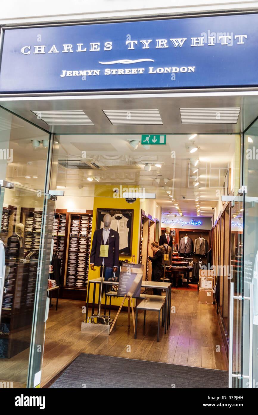 London England Great Britain United Kingdom City of London Charles Tyrwhitt store men's clothing apparel entrance shopping sale display - Stock Image