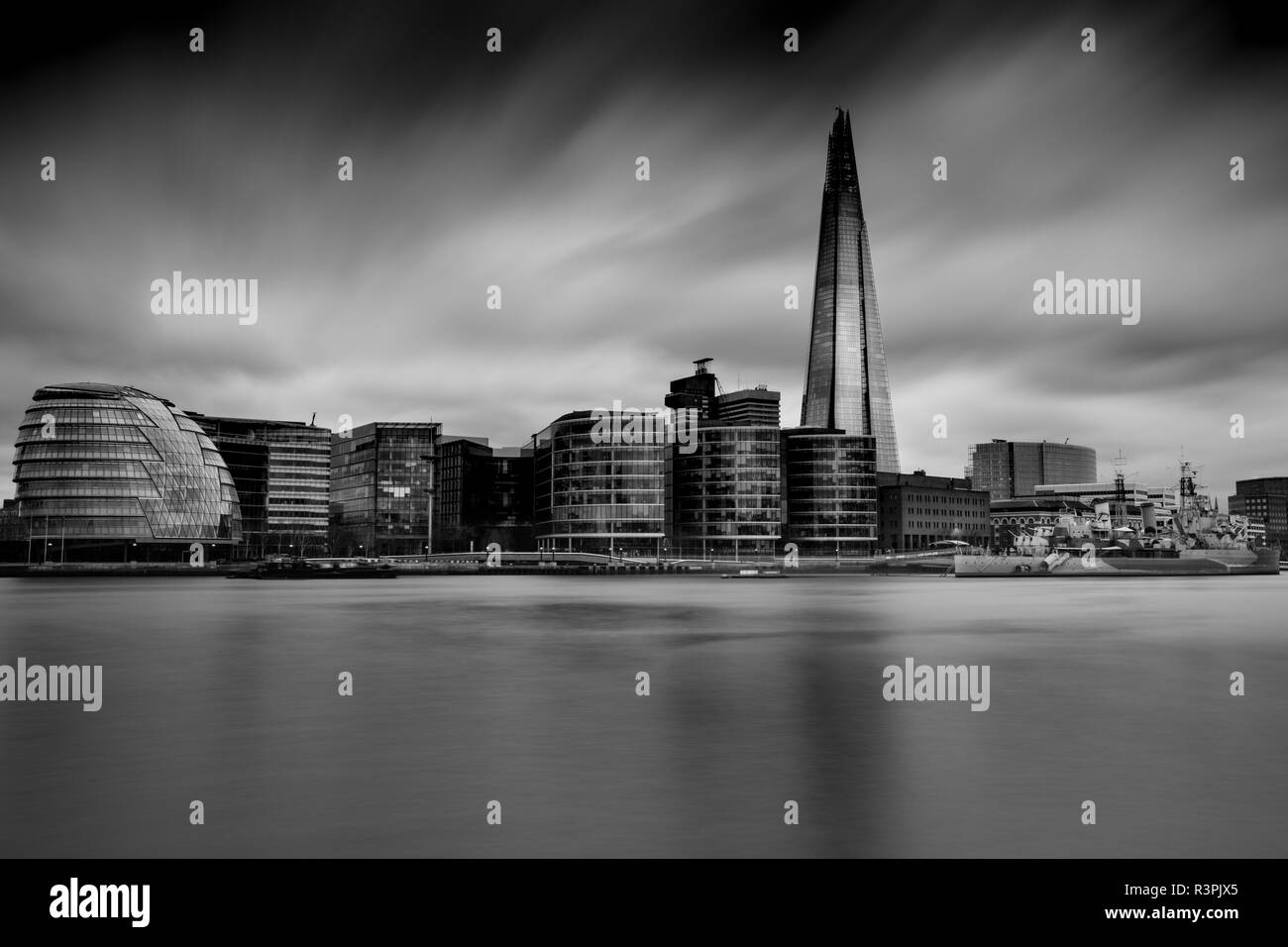 The Shard and surrounding buildings from the river Thames - Stock Image