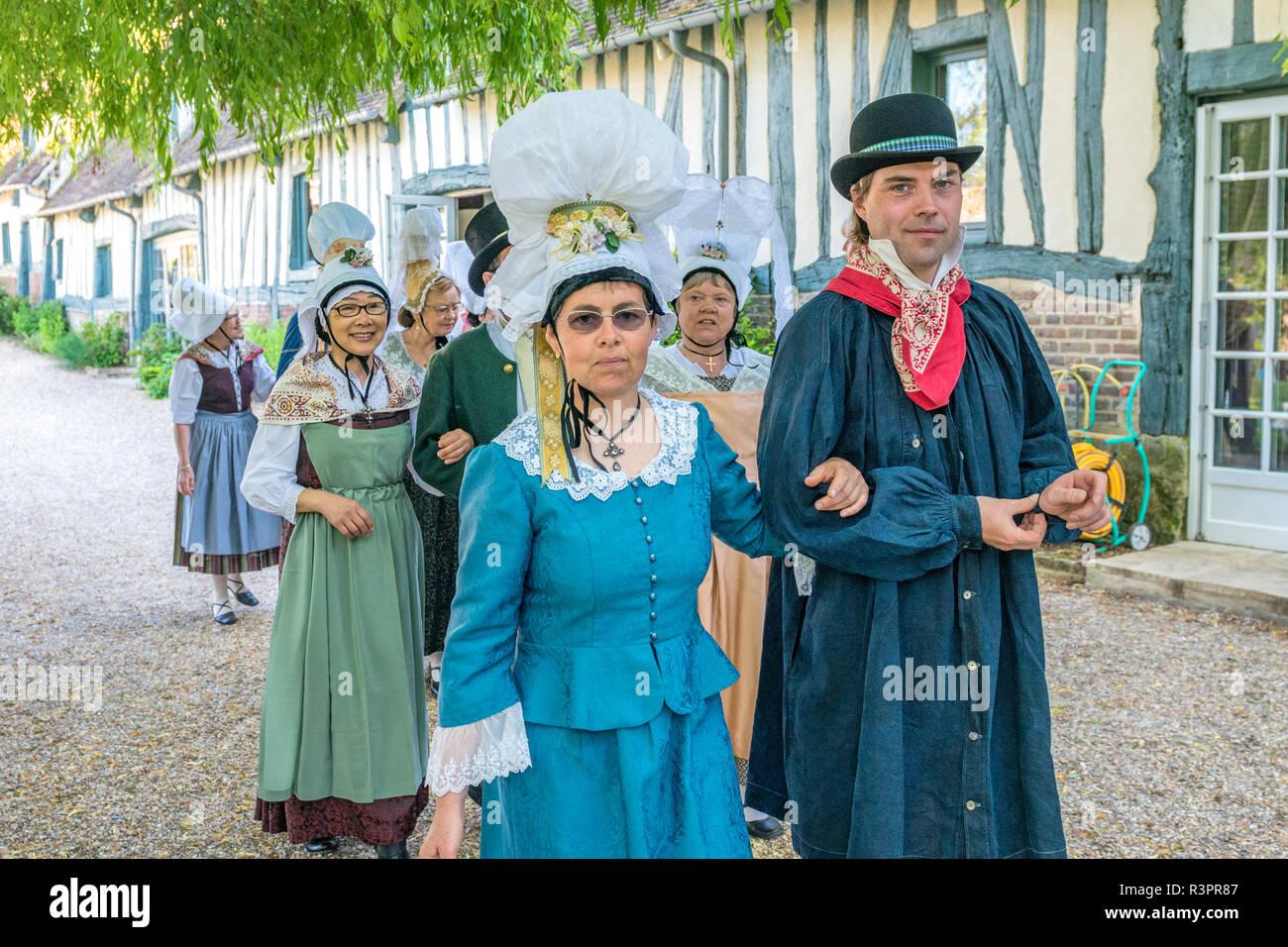 French reenactors, Commanderie de Templiers, Vexin region, France - Stock Image