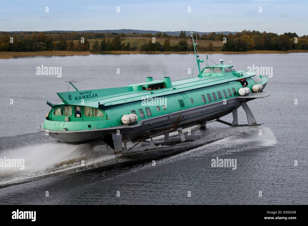 The Hotel Karelia 1970 Kometa-5 hydrofoil on the waters of Lake Onega, near Kizhi Island, Russia. - Stock Image