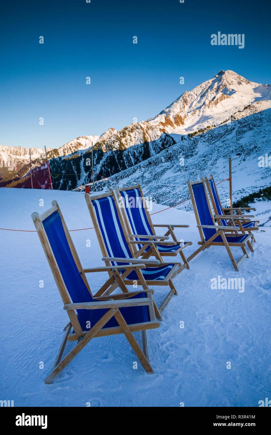 Austria, Tyrol, Zillertal, Mayrhofen, Ahornspitze Skiing Area Stock Photo
