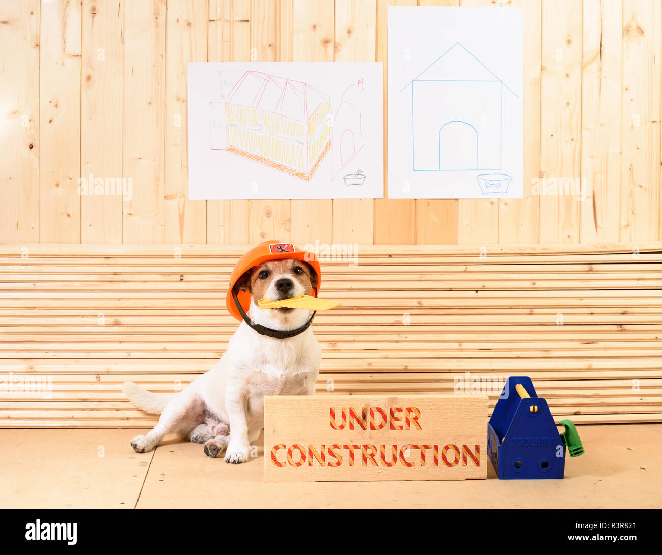 Amusing builder in hardhat at construction site next to beam with label 'Under construction' - Stock Image