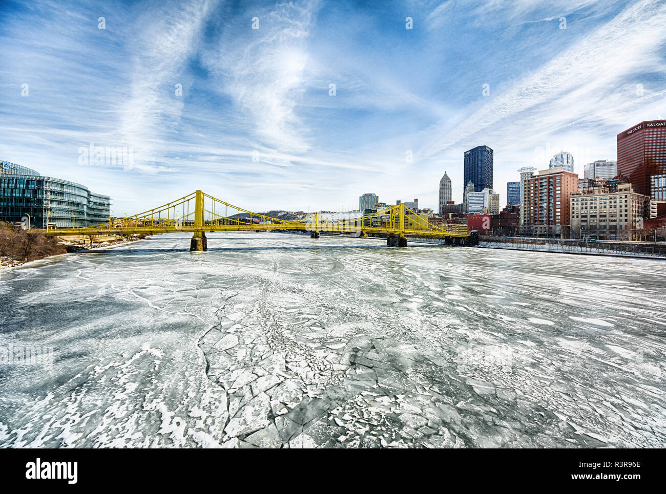 The Allegheny River frozen solid during subzero weather in