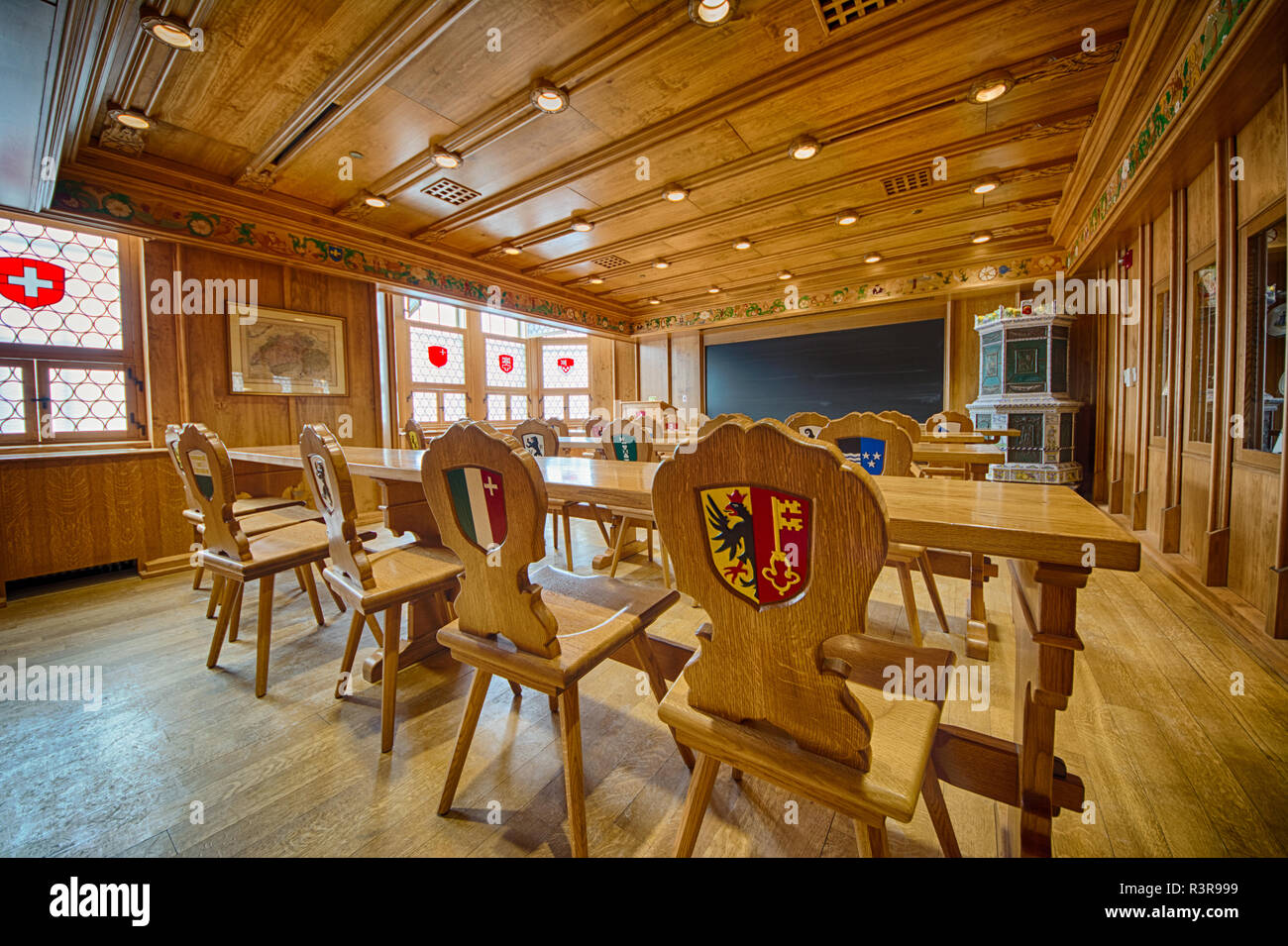 The Swiss classroom in the University of Pittsburgh's Nationality Rooms, Pittsburgh, Pennsylvania, USA - Stock Image