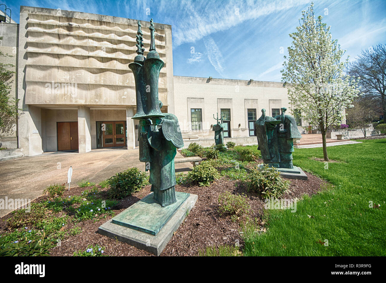 The series of bronze sculpted figures titled  Procession I by noted American-Jewish sculptor Elbert Weinberg (1928-1991).  Rodef Shalom Temple - Stock Image