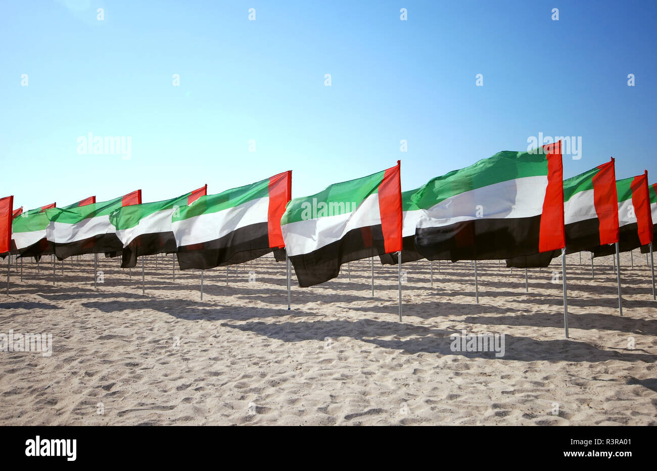 Many flags United Arab Emirates for the anniversary celebration on the beach. UAE Natoinal day. UAE celebrates National Day on 2nd December every year Stock Photo