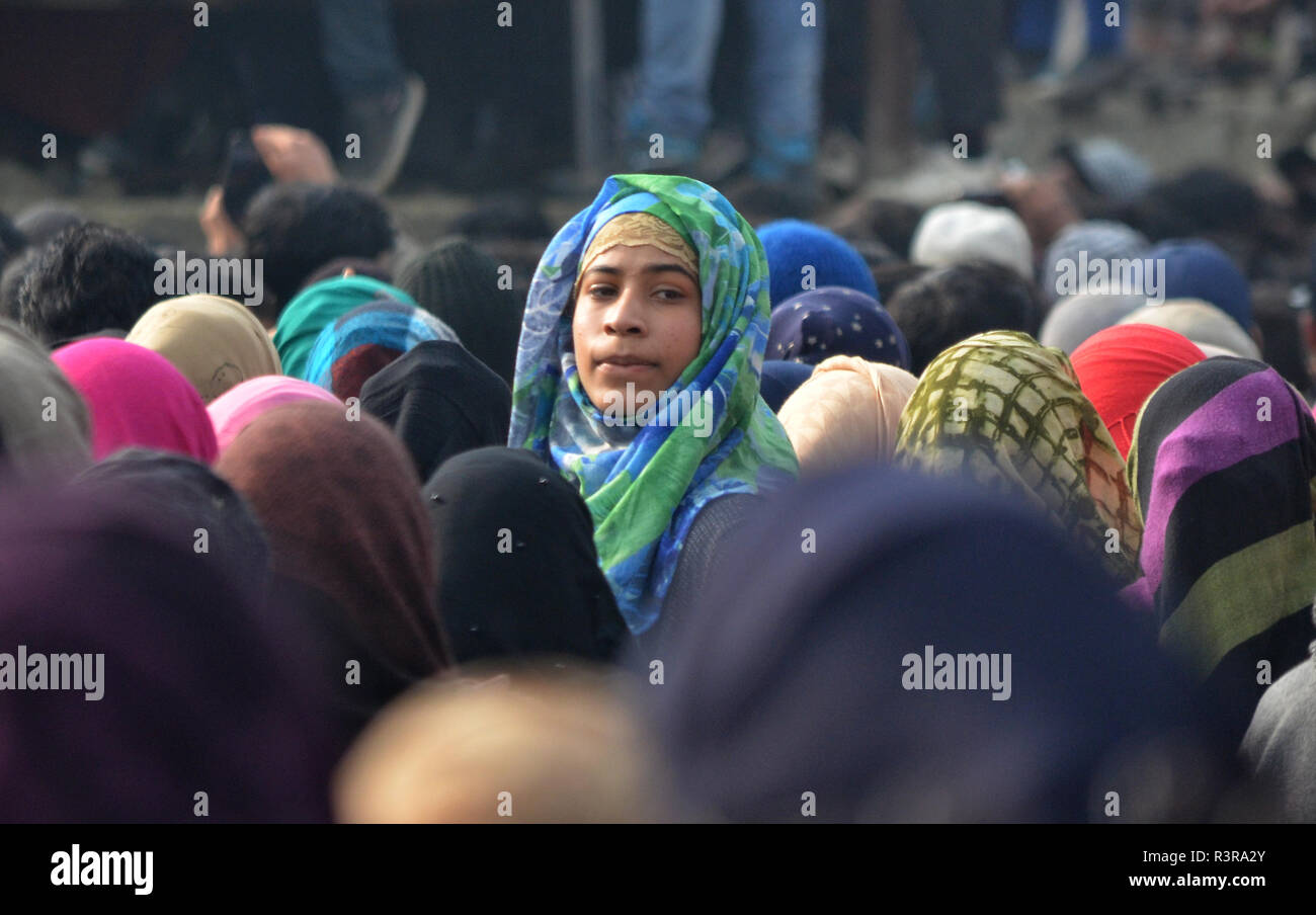 People attend the funeral of Azad Ahmad Malik alias Dada in Arwani Area of Kulgam district, Indian Administered Kashmir, some 70 kilometers away from Srinagar on 23 November 2018 Malik was killed in Shalgund village of Dashnipora in Bijbehara area of south Kashmir's Anantnag district on Friday. The slain Rebels have been identified as Azad Ahmad Malik alias Dada of Arwani, Basit Mir of Khanabal, Unais/ Anees of Takyibal, Bijbehara, Aqib of Waghama Bijbehara, Shahid from Awantipora and Firdaus Ahmad of Machpona Pulwama. (Photo by Muzamil Mattoo/Pacific Press) Stock Photo