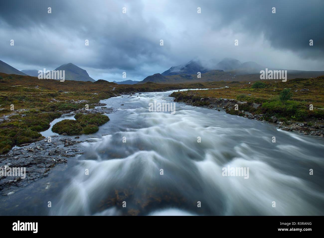 United Kingdom, Scotland, Scottish Highlands, Isle Of Skye, Cuillin Mountains, Sligachan River - Stock Image