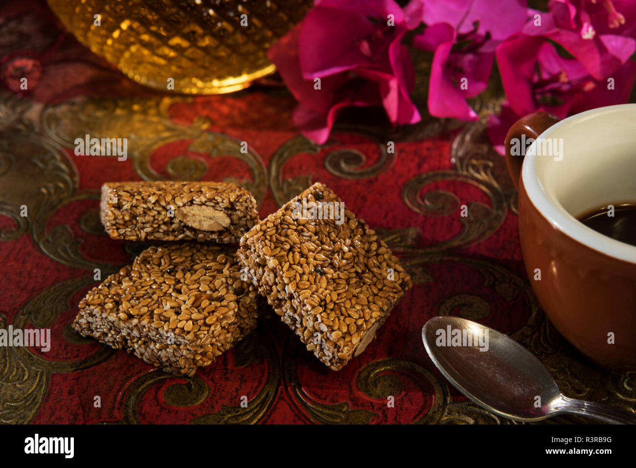 Sesame almond brittle - Stock Image