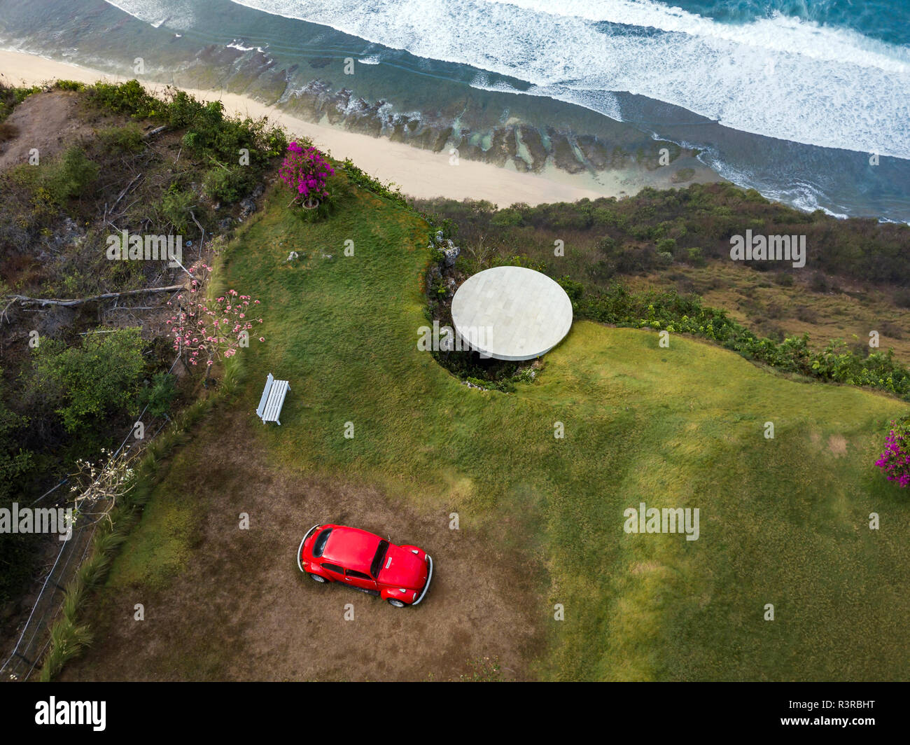 Indonesia, Bali, Aerial view of Nyang Nyang beach, VW beetle and observation point - Stock Image