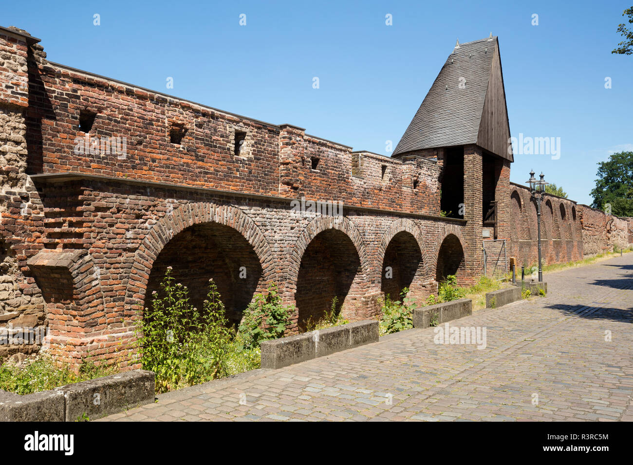 Germany, Duisburg, view of historical  town wall - Stock Image
