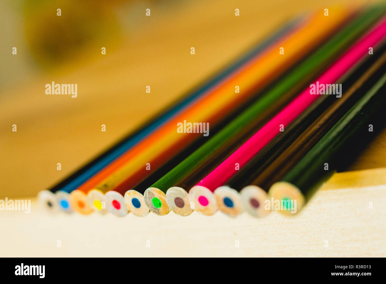 Colored pencils ordered to paint at school. - Stock Image