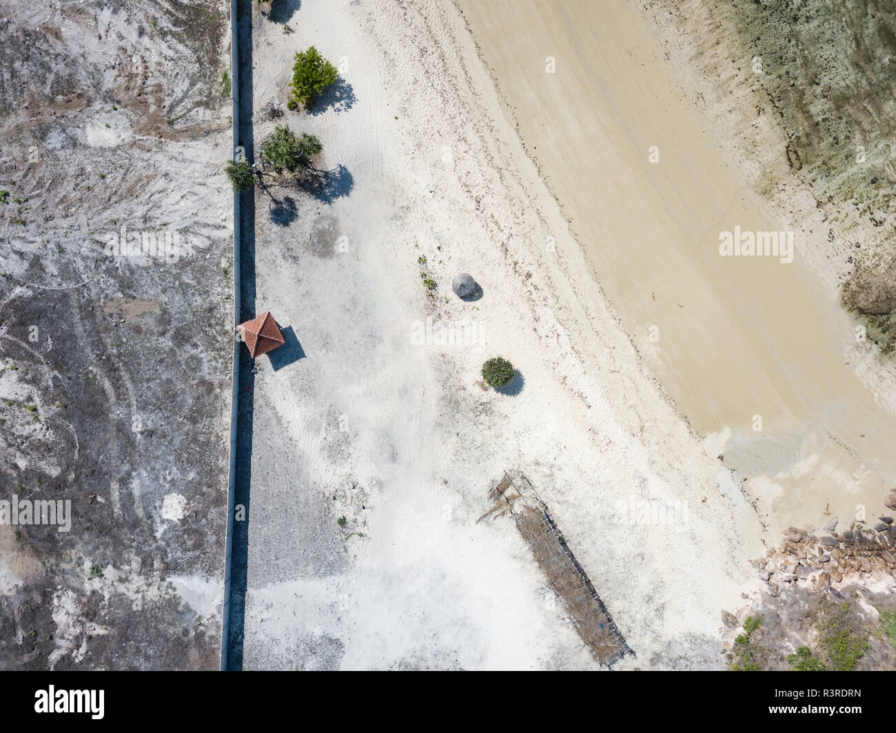 Indonesia, Aerial view of Lombok, empty beach from above Stock Photo
