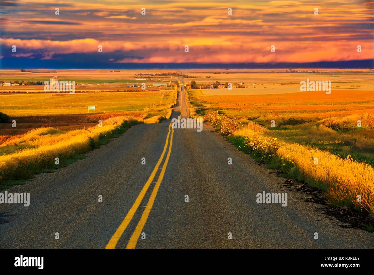 Canada, Saskatchewan, Braddock. Road through farmland. - Stock Image