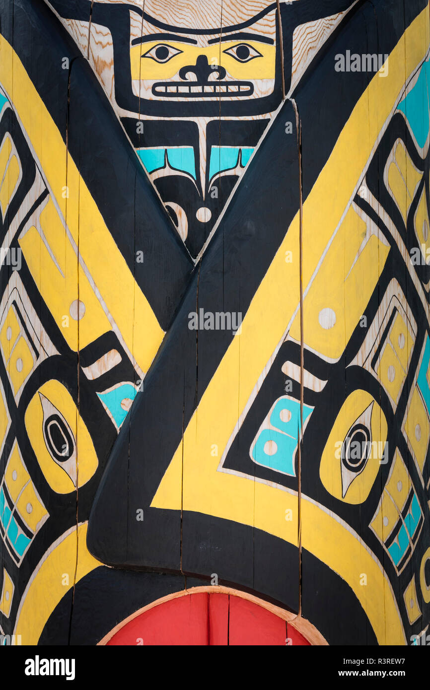 Canada, Yukon, Carcross. Detail of totem. - Stock Image