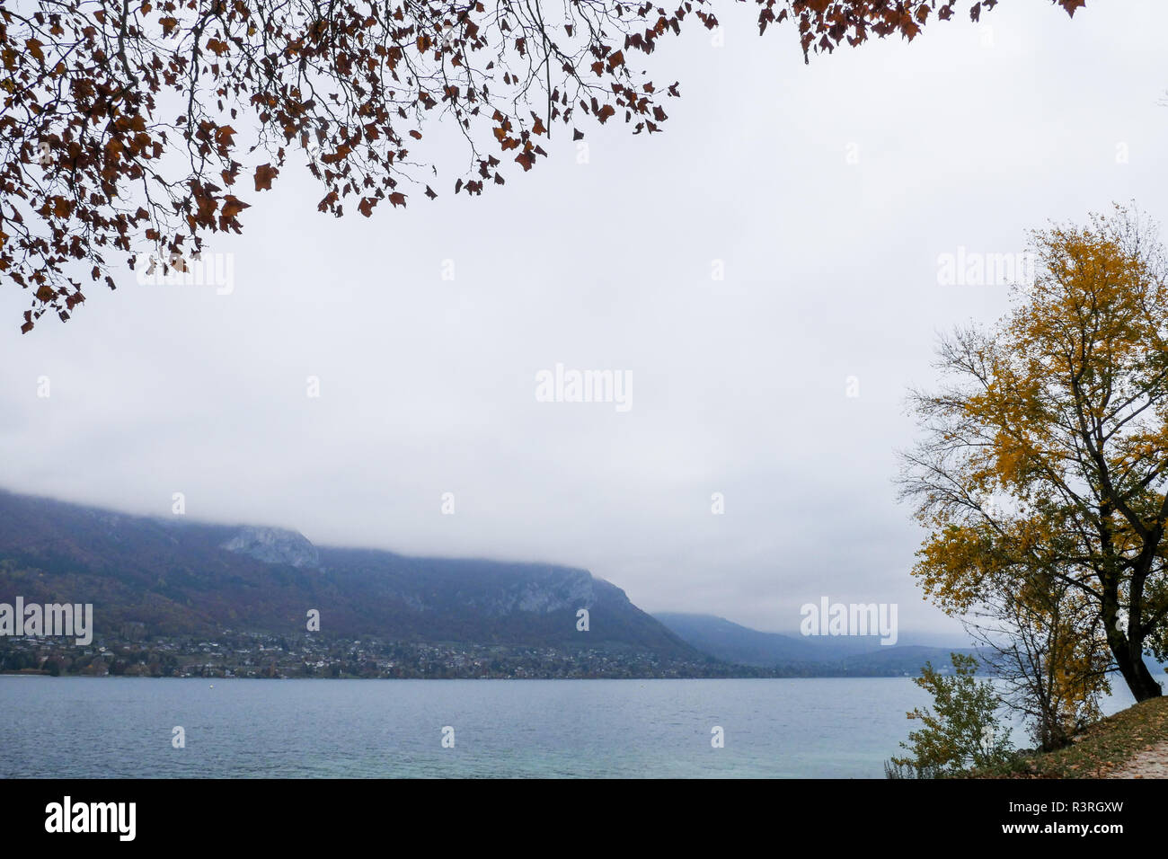 Waters level of Annecy Lake continue to decline, Annecy, France - Stock Image