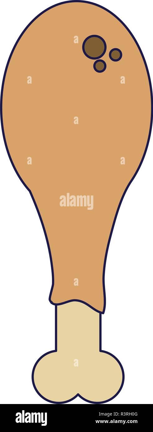 Chicken thigh food - Stock Vector