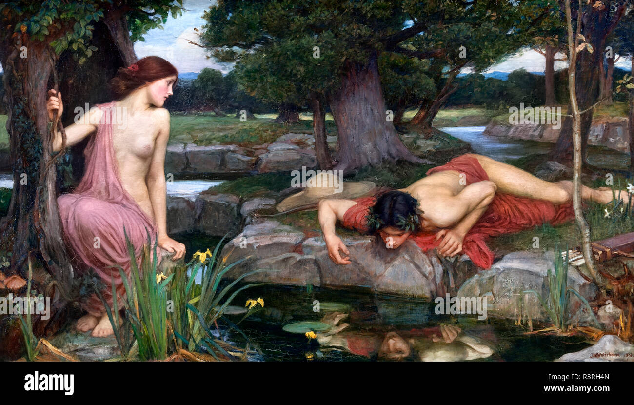 Echo and Narcissus by John William Waterhouse (1849-1917), oil on canvas 1903 - Stock Image